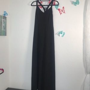Forever 21 ties up the back Long lined black dress
